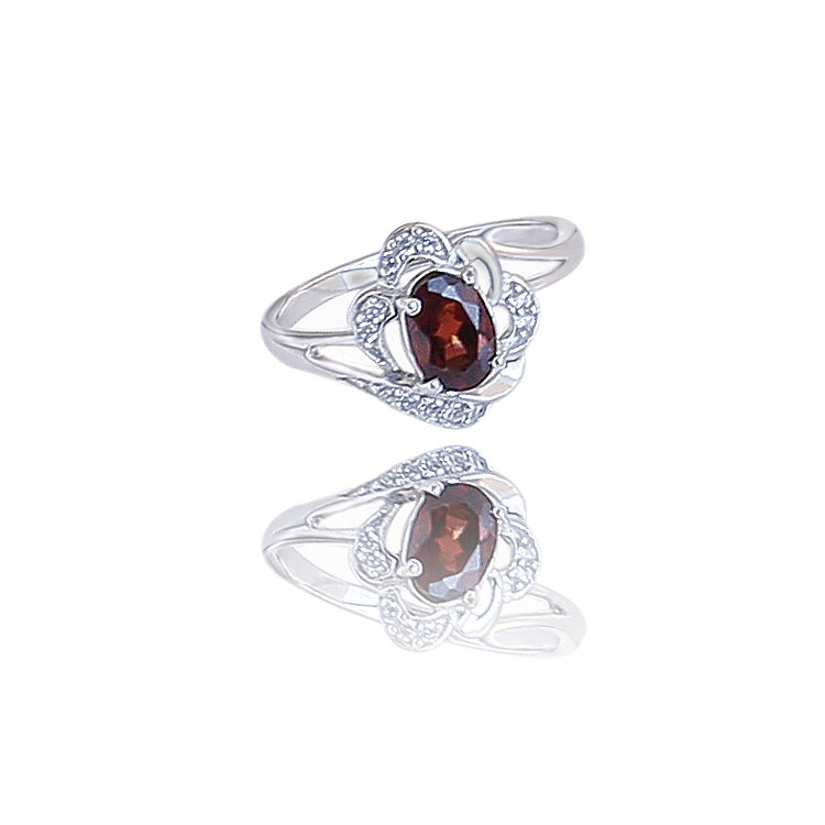 Silver Ruby Embeded Zircon Ring