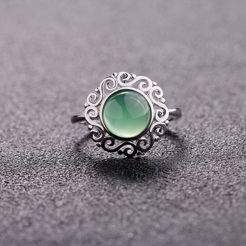Chinese Knot Style Chalcedony Ring