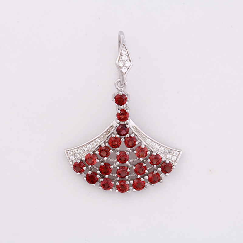 Sector Garnet Silver cz  Earrings