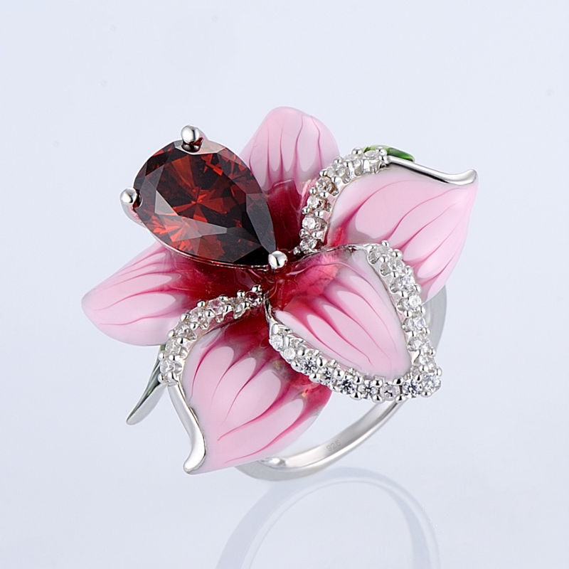Wonderful Beauty Red Fload Garnet CZ Cold Enamel Ring